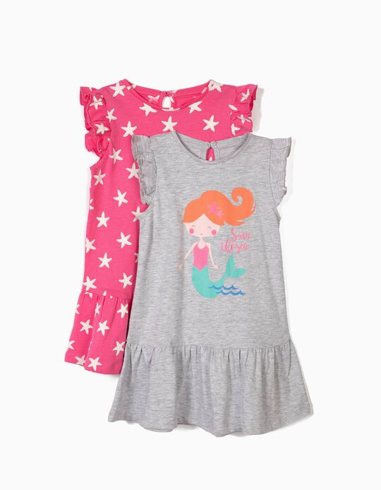 2 Vestidos para Bebé Niña 'Starfish & Mermaid', Rosa y Gris