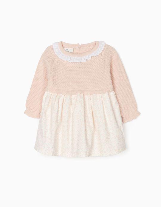 Dual Fabric Dress for Newborn Baby Girls, Pink/White