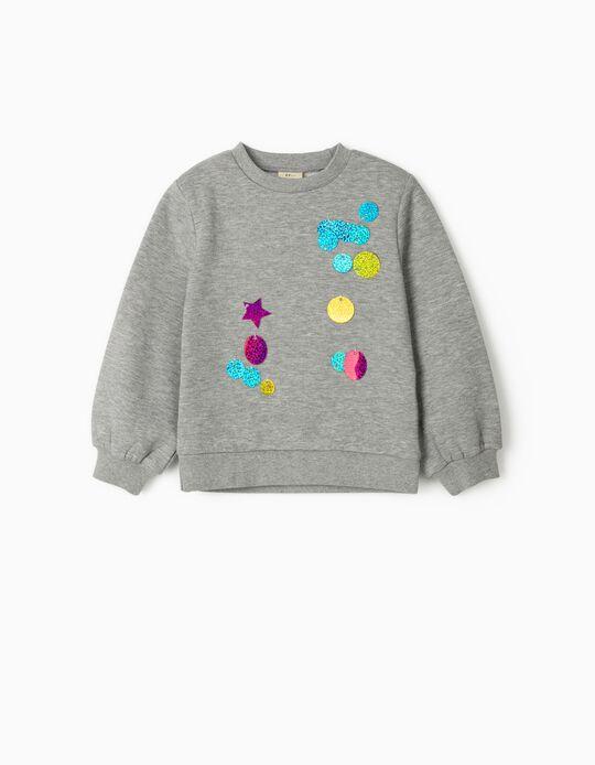 Sweatshirt com Aplicações para Menina, Cinza