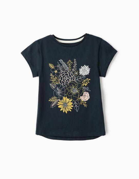 T-Shirt for Girls 'Flowers', Dark Blue