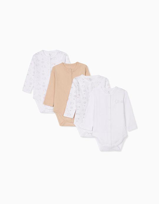 4 Bodies para Bebé 'Sheep', Blanco/Beige