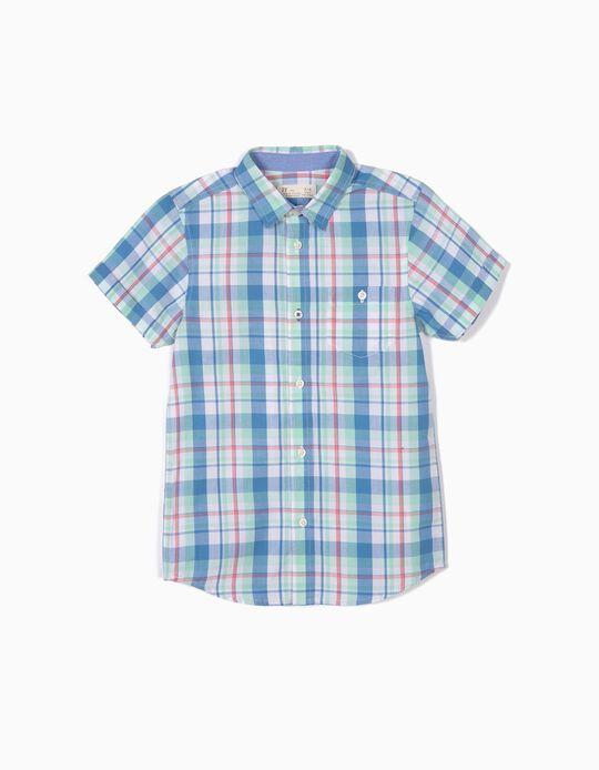 Camisa para Niño Ajedrez, Verde y Azul