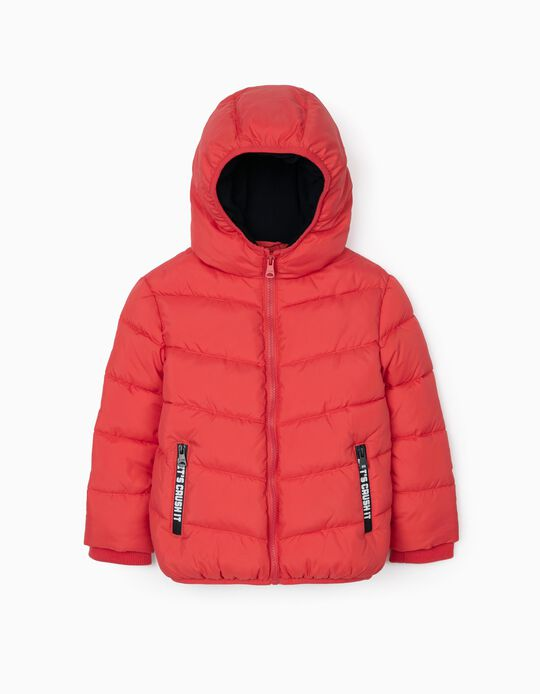 Padded Hooded Jacket for Boys, Red