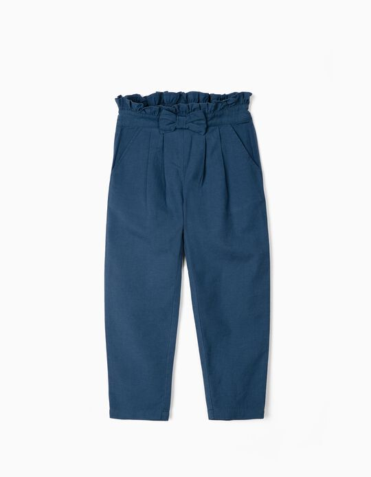 Trousers in Linen for Girls, Blue