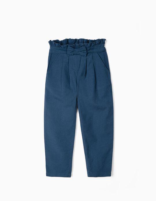 Pantalon avec lin fille, bleu
