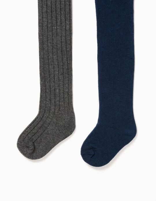 2 Pairs of Fine Knit Tights for Baby Girls, Dark Grey/Dark Blue