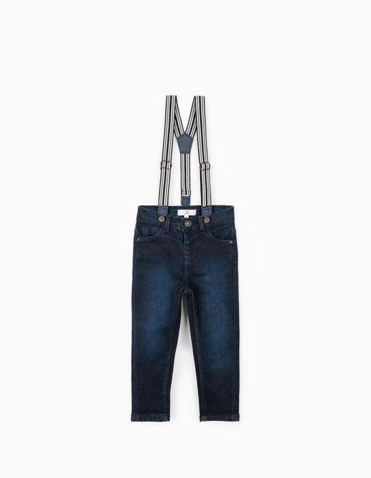Pantalón Vaquero con Tirantes, Azul