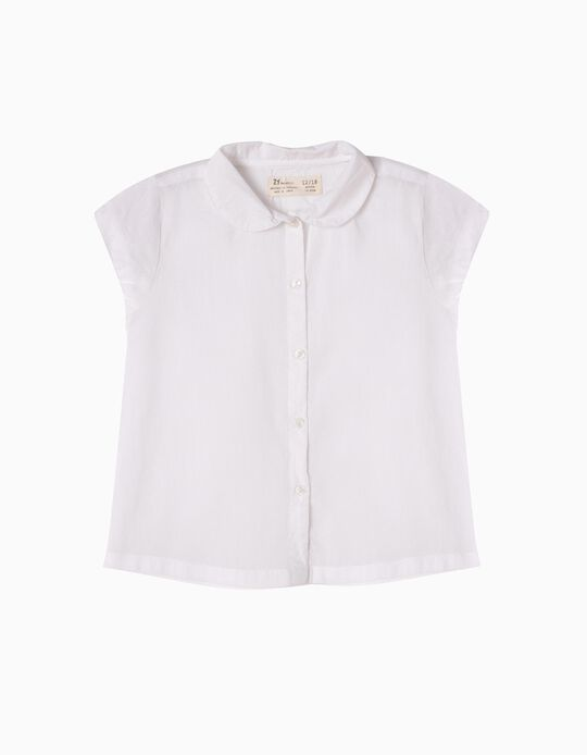 Blusa Manga Curta para Bebé Menina, Branco