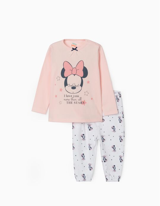 Pyjamas for Baby Girls, 'Minnie', Pink/White