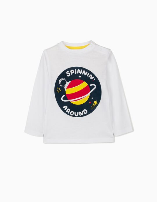 T-shirt Manga Comprida para Bebé Menino 'Spinnin' Around', Branco