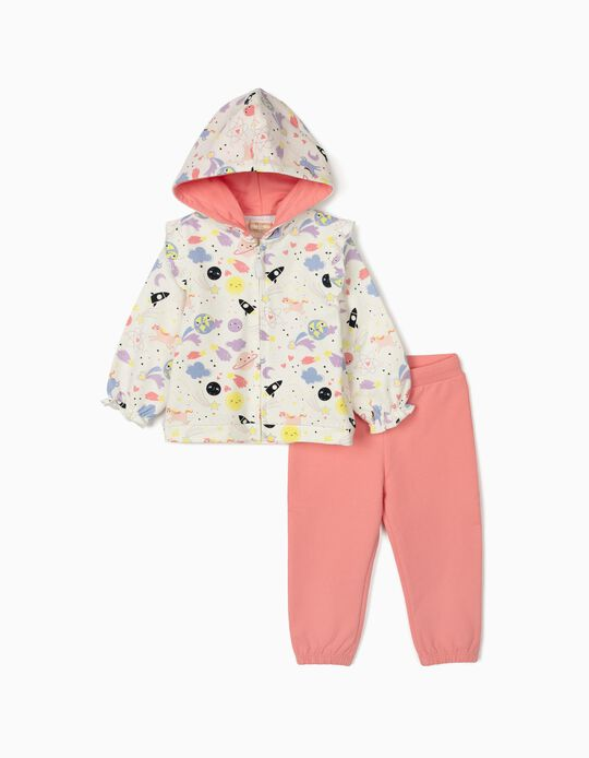 Tracksuit for Baby Girls, 'Space & Unicorns', White/Pink