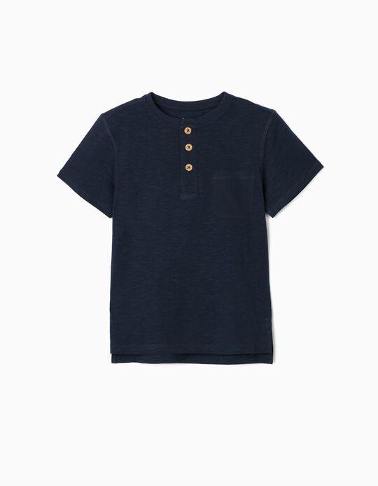T-shirt com Botões para Menino, Azul Escuro