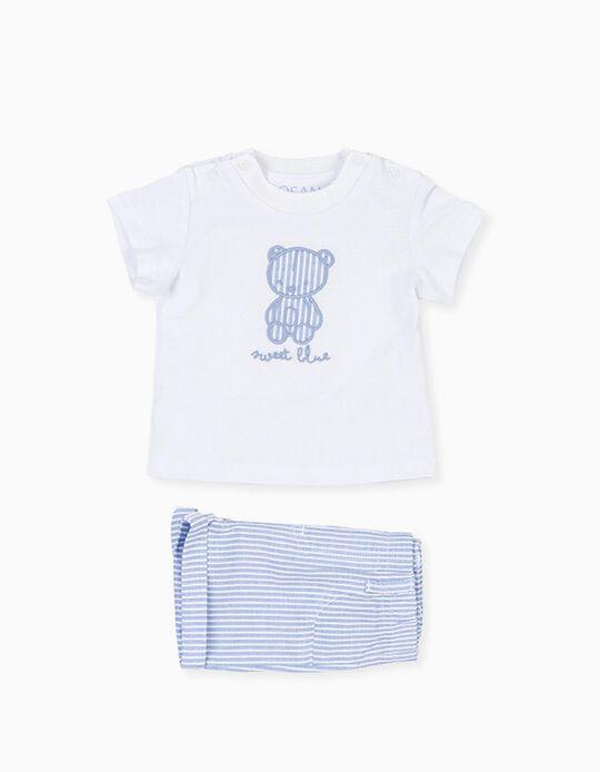 T-shirt e Calções para Recém-Nascido LOSAN, Branco/Azul