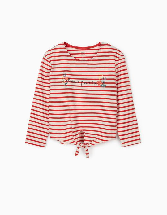 Long Sleeve Top for Girls 'Bisous', Red/White