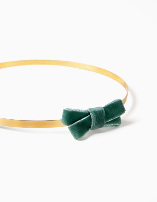 Headband with Little Bow, for Girls, Gold/Green