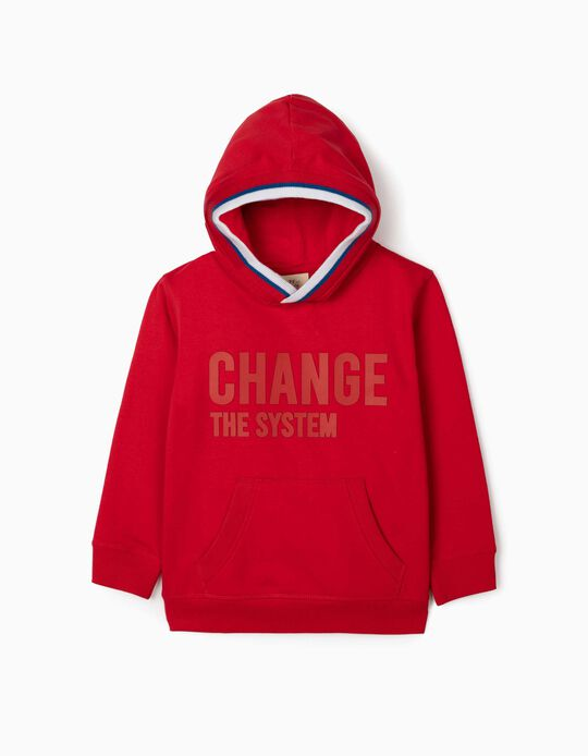Hoodie for Boys, 'Change the System', Red