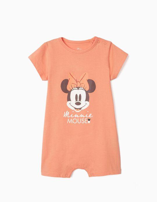 Grenouillère coton bio bébé fille 'Minnie', rose