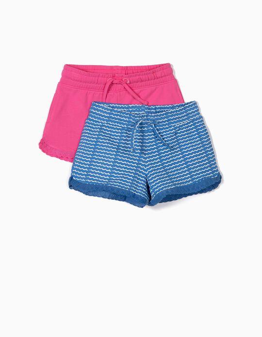 2 Shorts de Punto para Niña, Azul y Rosa