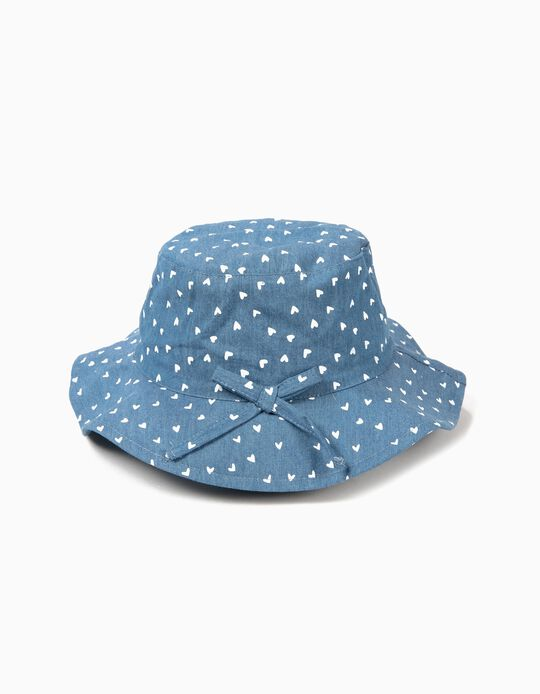 Denim Hat for Girls 'Hearts', Blue