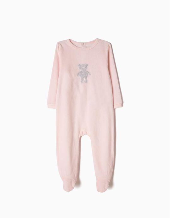 Velour Sleepsuit for Baby Girls 'Teddy Bear', Light Pink