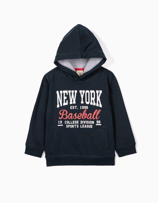 Sweatshirt para Menino 'ZY Baseball' com Capuz, Azul Escuro