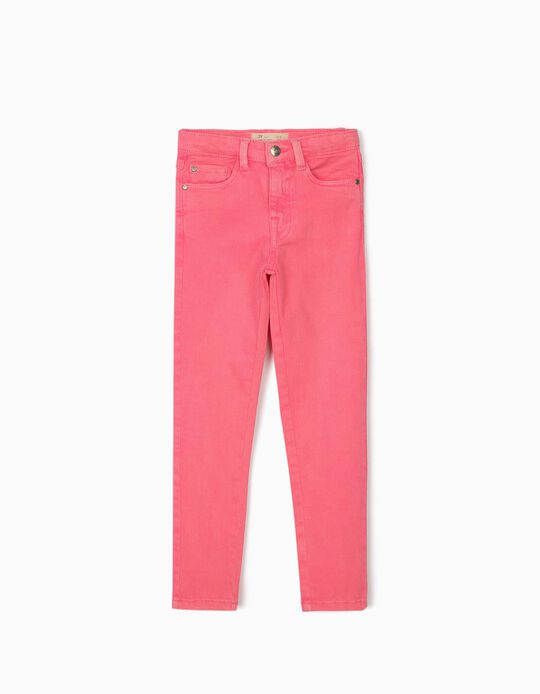 Twill Trousers for Girls 'Cosmic World', Bright Pink