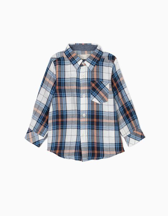 Camisa Ajedrez para Bebé Niño, Blanco y Azul