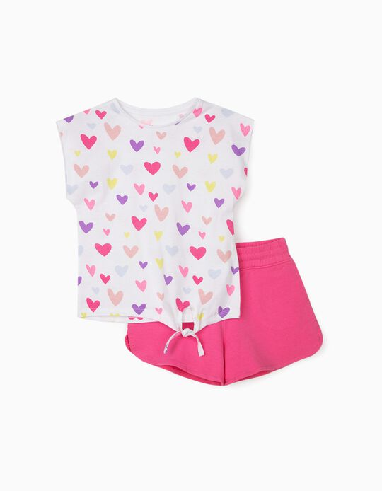 Camiseta y Short para Niña 'Hearts', Blanco/Rosa