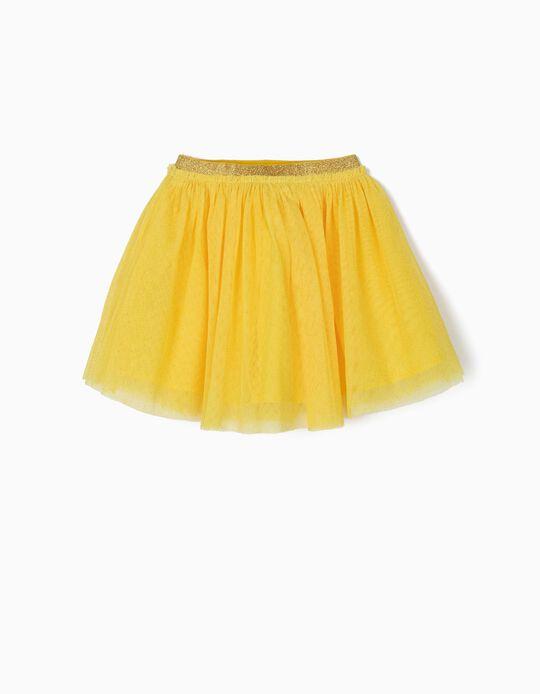 Saia de Tule para Menina com Brilhantes, Amarelo