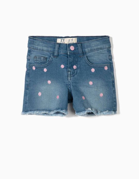 Denim Shorts for Girls 'Pink Dots', Blue