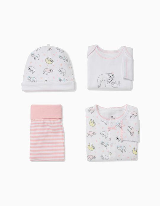 Conjunto 4 Peças para Recém-Nascida 'Sloths', Branco e Rosa
