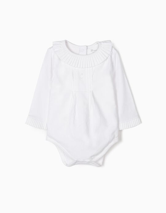 Body Blusa con Pliegues para Recién Nacida, Blanco