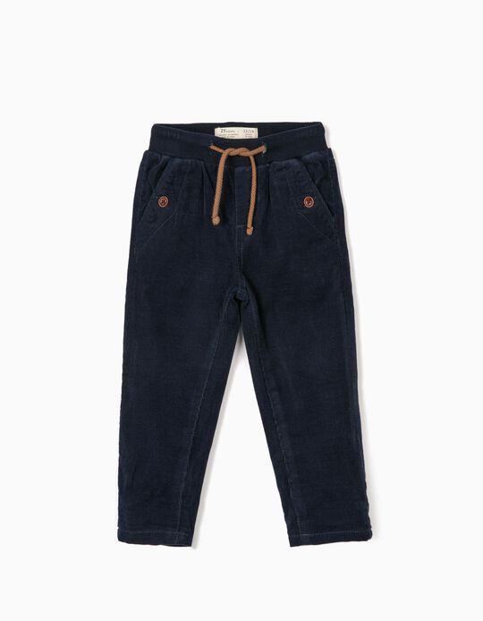 Pantalón de Pana para Bebé Niño, Azul Oscuro