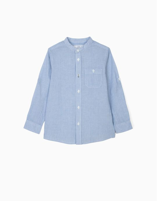 Shirt with Mao Collar for Boys, Blue