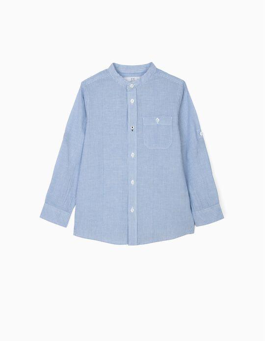 Chemise à col Mao garçon, rayures, bleu