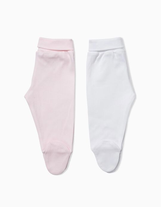 2-Pack Footed Trousers for Newborn, White and Pink