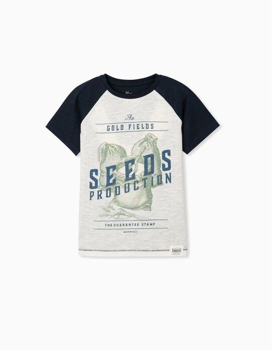 Camiseta Algodón Sostenibles para Niño 'Seeds', Azul/Blanco