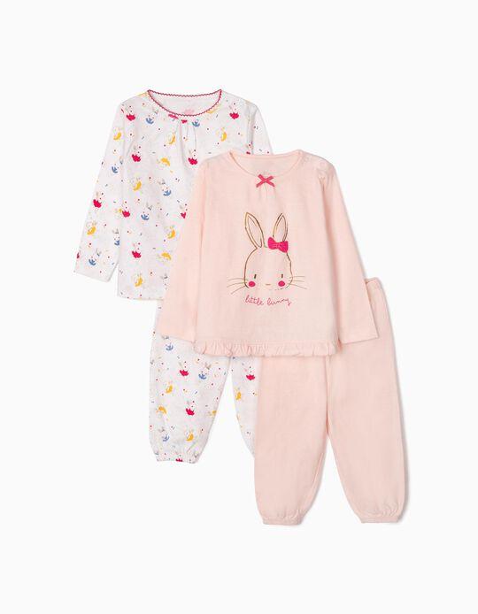 2 Pijamas Manga Larga para Bebé Niña 'Little Bunny', Rosa/Blanco