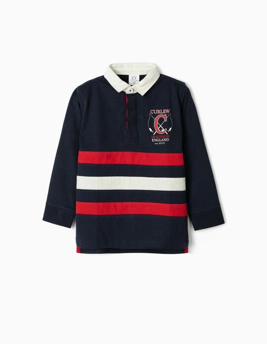 Long Sleeve Polo Shirt for Boys, 'Curlew', Dark Blue