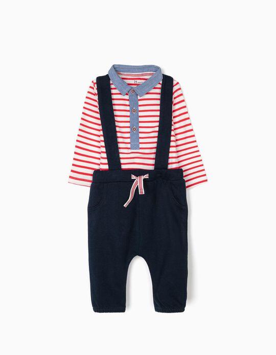 Body y Pantalón para Recién Nacido, Azul y Rayas