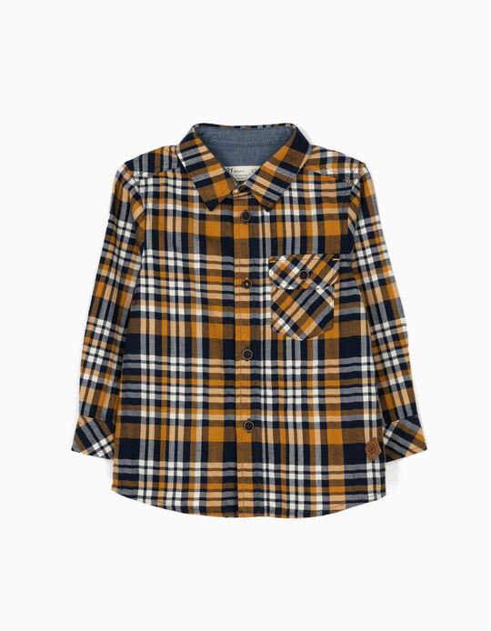 Camisa Ajedrez con Bolsillo Amarilla