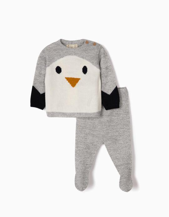 Camisola e Calças de Malha para Recém-Nascido 'Cute Penguin', Cinza