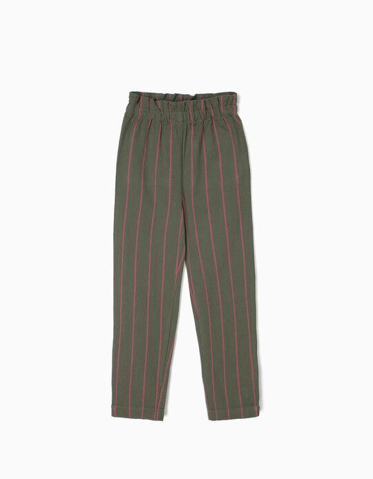 Falda Pantalón para Niña a Rayas, Verde