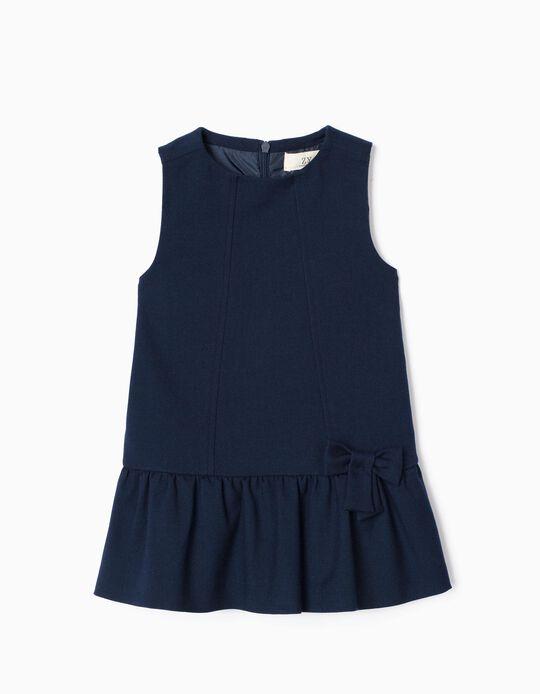 Vestido de Sarga para Bebé Niña 'B&S', Azul Oscuro