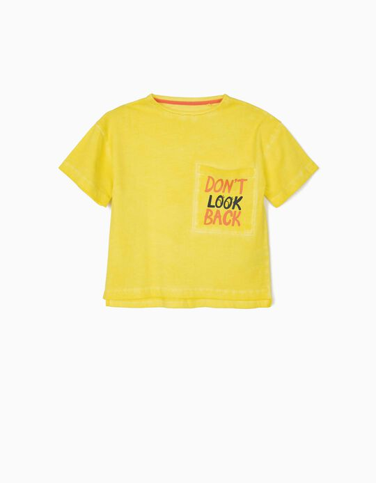 T-shirt for Girls 'Don't Look Back', Yellow