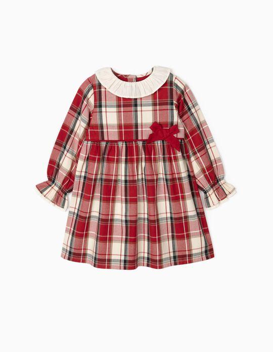 Vestido Ajedrez para Niña 'B&S', Rojo/Blanco