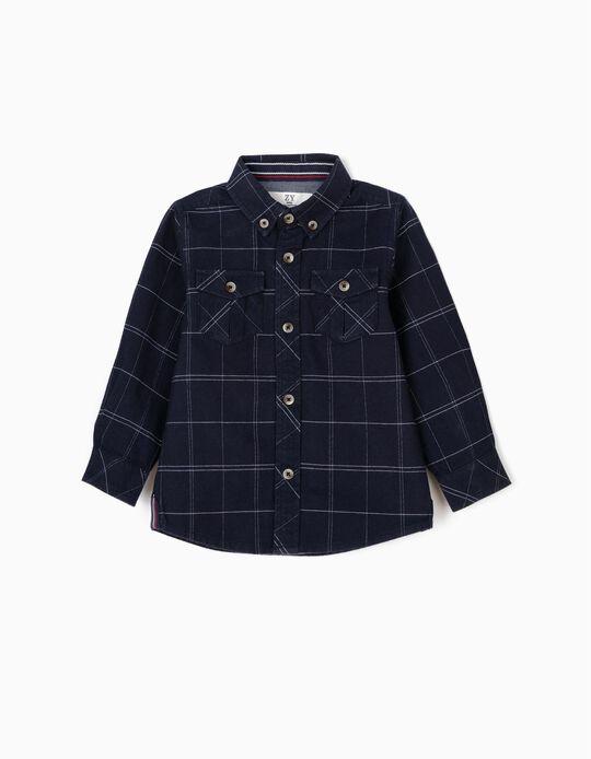 Camisa para Bebé Menino Quadrados, Azul Escuro
