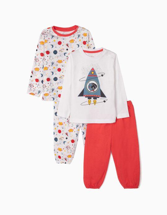 2 Pijamas Manga Larga para Bebé Niño 'Catronaut', Blanco/Rojo