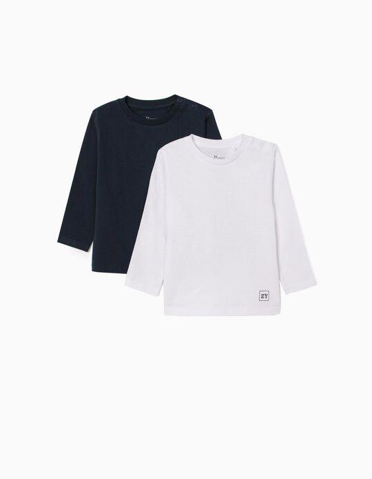 2 T-shirts Manga Comprida para Bebé Menino, Branco/Azul Escuro