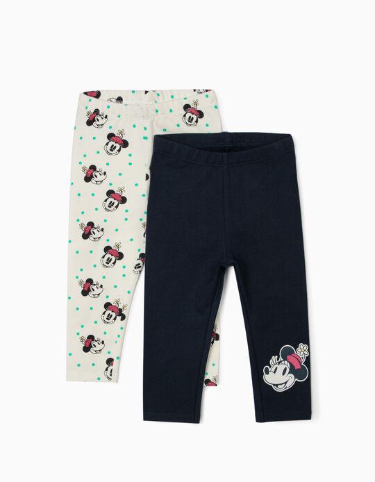 2 Leggings for Baby Girls 'Smiley Minnie', White/Dark Blue